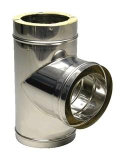 Сэндвич - тройник оцинкованный + нержавеющая сталь, диаметр 200x150мм, толщина 0.5мм  - фото 20551