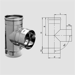 Тройник нержавеющая сталь (0,5мм) диаметр 106 - фото 20609