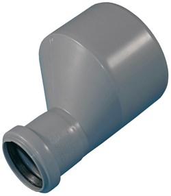 Патрубок переходный эксцентрический, диаметр 110x50мм, для внутренней канализации, полипропиленовый, длинный, серый - фото 32208