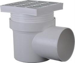 Трап угловой (горизонтальный) 150x150x110мм, с гидрозатвором, решетка нержавеющая сталь, серый - фото 33029