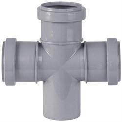 Крестовина канализационная одноплоскостная, 50/50/50, угол 87 градусов, полипропиленовая, серая - фото 33101