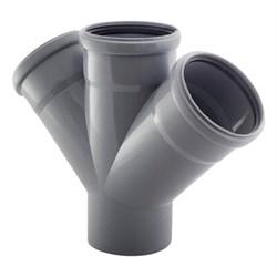 Крестовина канализационная одноплоскостная, 50/50/50, угол 45 градусов, полипропиленовая, серая - фото 33102
