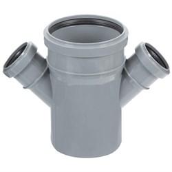 Крестовина канализационная одноплоскостная,  110/50/50, угол 45 градусов, полипропиленовая, серая - фото 33103
