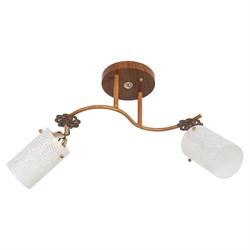 Люстра подвесная 2-рожковая 1708YX/2BR WT, длина 620мм, 2x60W, коричневый, белый - фото 33696