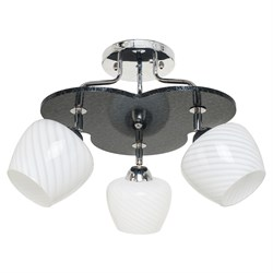 Люстра подвесная 3-рожковая 1829LM/3BK WT, диаметр 520мм, 3x60W, хром/черный, белый - фото 33716
