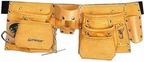 Пояс STAYER 38512 MASTER для инструментов, кожаный, 10 карманов, 3 подвески
