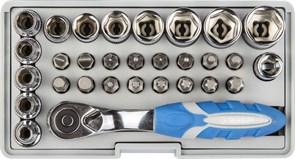 Набор Зубр: Биты 16шт,торцевые головки с мини трещеткой, адаптер д/бит, удлиннитель 1/4 80мм