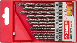 Набор сверл по металлу ЗУБР быстрорежущая сталь Р6М5 1,5-6,5мм