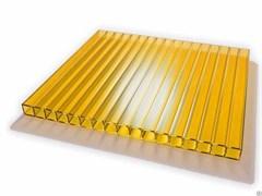 Сотовый поликарбонат Жёлтый  4*2100*12000 ( 12 метров), на метраж, цена за метр
