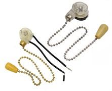 Выключатель для настенного светильника с цепочкой и деревянным наконечником серебро