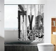 Шторка для ванной комнаты тканевая Улицы Нью-Йорка MZ-108, 180x180см, водонепроницаемая