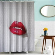 Шторка для ванной комнаты тканевая Красная помада MZ-53, 180x200см, водонепроницаемая