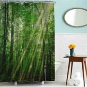 Шторка для ванной комнаты тканевая Лес MZ-61, 180x180см, водонепроницаемая