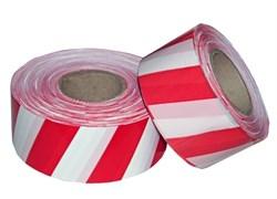 Лента сигнальная оградительная 50ммx200м, красно-белая, рулон