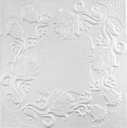 Плитка  потолочная экструзионная Лагом декор Формат 5702, 50x50см, пенополистирол, белая, упаковка 8шт. (2м2)
