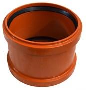 Муфта соединительная для наружной канализации, диаметр 160мм, равнопроходная, полипропиленовая, красная