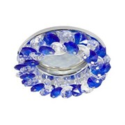 Светильник встраиваемый Ecola CD4141 MR16 GU5.3, 50x90мм, круглый с хрусталиками, прозрачный и голубой, хром, FL1617EFY