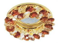 Светильный встраиваемый Ecola CD4141 MR16 GU5.3, 50x90мм, круглый с хрусталиками, прозрачный и янтарь, золото, FA1618EFY