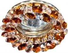 Светильный встраиваемый Ecola CD4141 MR16 GU5.3, 50x90мм, круглый с хрусталиками, прозрачный и янтарь, хром, FO1617EFY