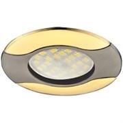 Светильник встраиваемый Ecola HL029 MR16 GU5.3, 22x82мм, Волна, литой, черный хром, золото, FN1604EFS