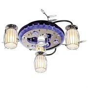 Люстра подвесная 8296/3+1BK+CR RC MIXLED, диаметр 660мм, 3x40W и 1x3W, хром черный, белый хром, с LED подсветкой