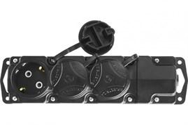 Колодка розеточная для удлинителя СИБИН 55114-3, трехместная, IP44, макс мощность 3500Вт, с заземлением, защитные крышки, черная
