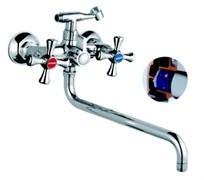 Смеситель для ванны 5823F RAINSBERG, двуручный, длинный поворотный излив