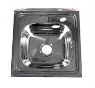 Мойка кухонная накладная FABIA 62109, 500х500x160мм, с большим сифоном, с переливом, нержавеющая сталь
