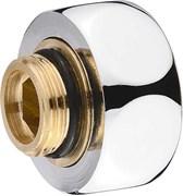 Фланец для полотенцесушителя, 1x1/2дюйма (25x15мм), с накидной гайкой, внутренняя/наружная резьба, латунь, хром