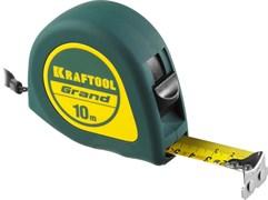 Рулетка KRAFTOOL GRAND, 10мx25мм, обрезиненный пластиковый корпус