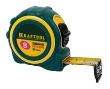 Рулетка KRAFTOOL, 8мx25мм, нейлоновое покрытие