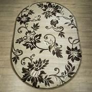 Ковер Круиз 22314-29626, 60х110см, овальный, бежево-коричневый с рисунком