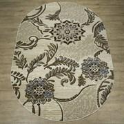 Ковер Круиз 22410-29726, 80х150см, овальный, бежево-серый с рисунком