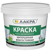Краска вододисперсионная интерьерная Лакра, влагостойкая, повышенной белизны, 1.3кг