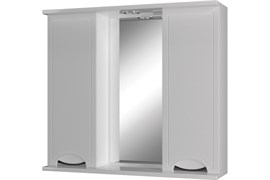 Шкаф-зеркало для ванной комнаты Лотос-4, 750x750x220мм, 2двери, с подсветкой, белый