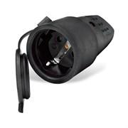 Разъём штепсельный UNIVersal 602228, 16А, 250В, еврослот, с заземлением, каучуковый, черный
