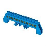 Шина нулевая ЕКF sn0-63-12 на DIN-рейку N, 6x9мм, 12 отверстий, синий изолятор, латунь