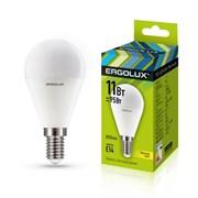 Лампа светодиодная Ergolux LED-G45-11W-E14-6K, 11Вт, 180-240В, шар, Е14