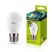Лампа светодиодная Ergolux LED-G45-11W-E27-4K, 11Вт, 180-240В, шар, Е27