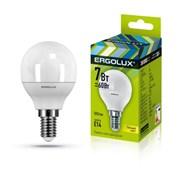 Лампа светодиодная Ergolux LED-G45-7W-E14-4K, 11Вт, 180-240В, шар, Е14
