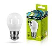 Лампа светодиодная Ergolux LED-G45-7W-E27-4K, 7Вт, 180-240В, шар, Е27
