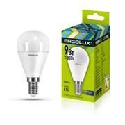 Лампа светодиодная Ergolux LED-G45-9W-E14-4K, 9Вт, 180-240В, шар, Е14