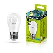 Лампа светодиодная Ergolux LED-G45-9W-E27-6K, 9Вт, 180-240В, шар, Е27