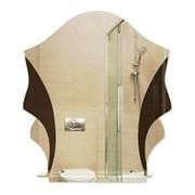 Зеркало фигурное с тонированным зеркалом САНАКС 45509, 525х610мм, полка 400мм, комбинированное