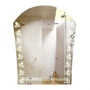 Зеркало фигурное с матированным рисунком САНАКС 45601, 580х700мм, полка 400мм, комбинированоое