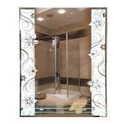 Зеркало фигурное с матированным рисунком САНАКС 45614, 535х680мм, полка 500мм, комбинированоое