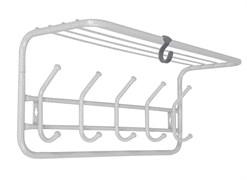 Вешалка настенная ВСП6 с полкой, 600x220x265мм, 5 крючков, металл, белое серебро