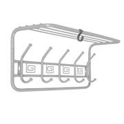 Вешалка настенная Ажур ВСПА202БС с полкой, 600x220x265мм, 5 крючков, металл, белое серебро