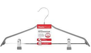 Вешалка-плечики MasterHouse Кэролин 60583, с антискользящим покрытием, металл, серый