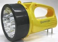 Фонарь-прожектор Ultraflast 12859 LED 3816SM, аккумуляторный 4В 0.8Ah, 9 светодиодов, 80Лм, 2 режима, встроенная вилка, 220В, жёлтый